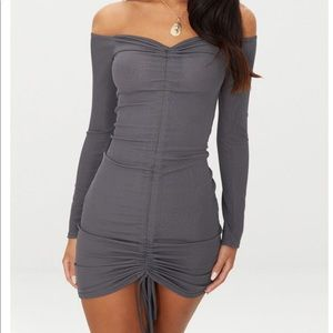 #PrettyLittleThing ruched charcoal bodycon dress
